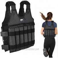 UINKISY Adjustable Weight Vest Max Loading 110lbs 12 SandbagsEmpty Pockets -Not Including Sand  Wide Shoulder Design Exercise Vest Outdoor Sports Vest for Running and Walking Exercises Black