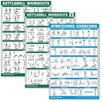 Palace Learning 3 Pack: Kettlebell Workouts Volume 1 & 2 + Stretching Exercises Poster Set Set of 3 Workout Charts